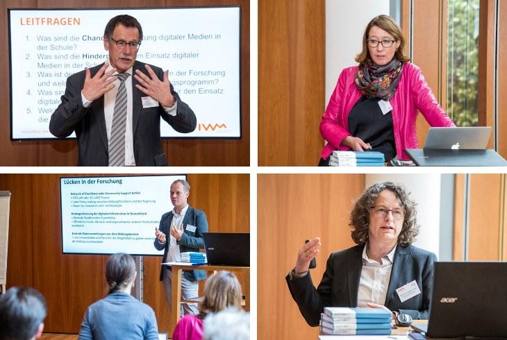 Prof. Dr. Dr. Hesse (IWM, links oben), Prof. Dr. Ulrike Cress (IWM, rechts oben), Prof. Dr. Hendrik Drachsler (DIPF, links unten), Prof. Dr. Monika Jungbauer-Gans (DHZW, links unten)
